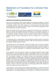 Statement on Foundation for a Smoke Free World_Australia PH Association 2018