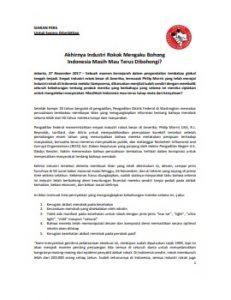 Pernyataan Korektif Industri Rokok - 27 Nov 2017