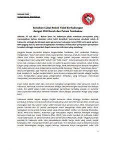 Siaran Pers Cukai Tidak Berhubungan dengan PHK dan Petani 27 Juli 2017