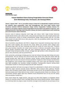 Siaran Pers Fatayat NU Dukung Pengendalian Konsumsi Rokok 3 Agt 2019