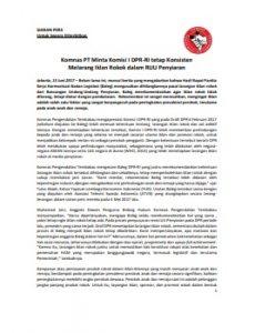 Siaran Pers Komnas PT Minta Komisi I Komitmen Larang Iklan Rokok 15 Jun 2017