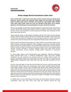 Siaran Pers Komnas PT Rokok sebagai Kemubaziran