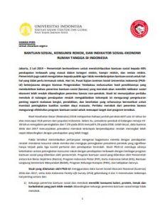 Siaran Pers Launching Penelitian Bantuan Sosial, Konsumsi Rokok, Indikator Sosek RT di Indonesia