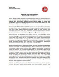 Siaran Pers Organisasi Kesehatan Tolak RUU Pertembakauan