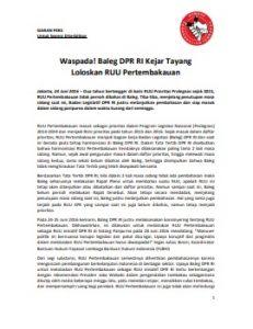 Siaran Pers Waspada Baleg DPR RI Kejar Tayang RUU Pertembakauan 24 Juni 2016
