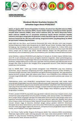 Mendesak Menteri Kesehatan Kerjakan PR: Selesaikan Segera Revisi PP109/2012