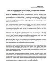 Siaran Pers - Desak Penyelesaian Revisi PP 109-2012, Koalisi Masyarakat Peduli Kesehatan