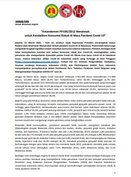 Amandemen PP109/2012 Mendesak